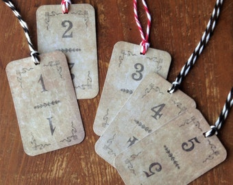 15 Number Gift Tags, Holiday Gift Tags, Birthday Gift Tags, Party Favor Tags
