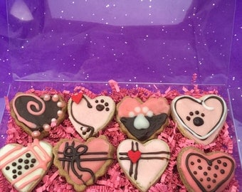 8 Assorted Hearts,Grain Free or Whole Wheat Dog Treats,Valentine Dog Treat,Homemade Dog Treats,All Natural,Dog Gift,Groovy Pup Bakery