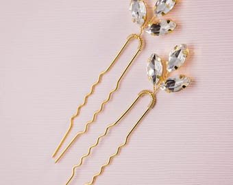 Gold leaf hair pin, Crystal leaf hair pin, Gold hair pin, Gold Hair vine, Gold bridal headpiece, Rhinestone hair pin