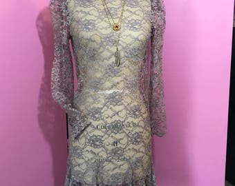 Vintage lace dress/hand dyed lace dress/80's lace dress/FAB 208 NYC/ redesigned vintage/grey lace dress