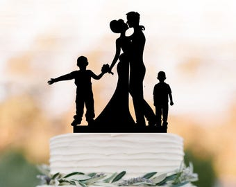 family Wedding Cake topper with two boys, bride and groom silhouette unique wedding cake  decor, funny cake topper with child, kids