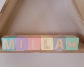 Pastel Wooden Name Blocks Custom