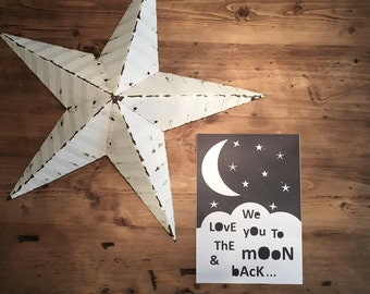 "A4 Kids print ""We love you to the moon & back"""