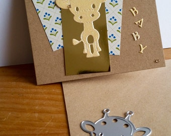 A square Kraft card, new baby, handcrafted, handmade, embellished.
