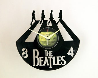 The Beatles vinyl record wall clock, ideal for home decor, unique gift present, hand made art, interior design for music fan, 004