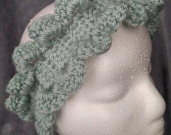 Mint Green Floral Headband - Crochet