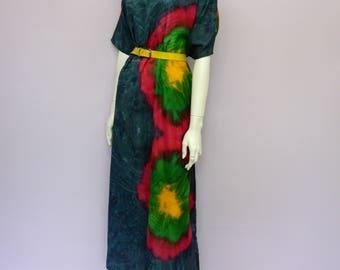 Vintage tie dye bohemian kaftan dress from India // Advance Apparels // Eur 46/48 / US 18 / UK 20 / XXL
