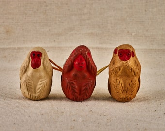 Three wise monkeys (三猿), three mystic apes figures, see no evil, hear no evil, speak no evil -  tiny charm bells. Made of clay