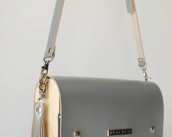 Leather purse, cross body handbag, gray purse
