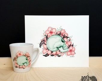 Mug & poster kit, skull and flowers