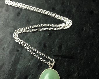 Sterling silver and green aventurine handmade pendant