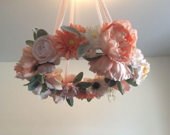 Floral Mobile - Baby Mobile - Baby Girl Mobile - Chandelier - Flower Mobile - Nursery Decor - Baby Girl Gift - Shower Decoration