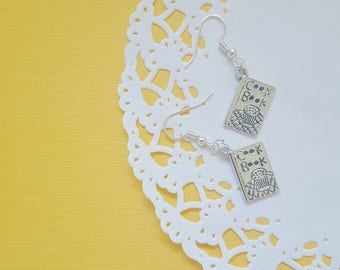 Silver Cookbook Earrings, Quirky Earrings, Quirky Gift, Cook Book
