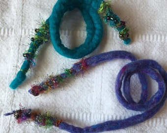 Felted Roving Hair Ties, Set of Two. Accented with decorative yarn and beads.