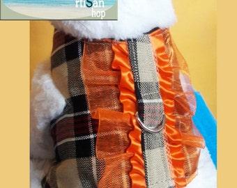 Plaid harness frills,harness,dog harness,cat harness,rabbit harness,pet harness,plaid fabric harness,plaid fabric dog coat,plaid costume