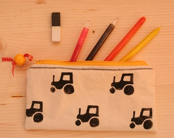 Handmade and Hand printed Tractor Pencil Case