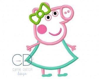 Peppa Pig Applique Design, Peppa Pig Embroidery Design, Pig Applique, Pig Embroidery