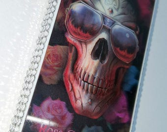 3D Groovy Skull with Colourful Roses 3D Picture iPhone 4S Case decorated With Rhinestones