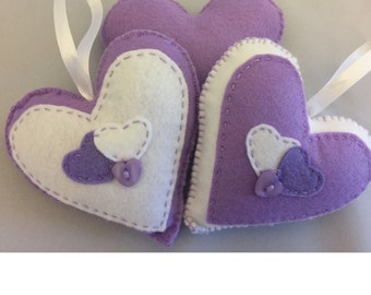 Hand stitched light purple and White hanging hearts, home decor, any occassion, set of 2 hanging felt hearts. (HH007)