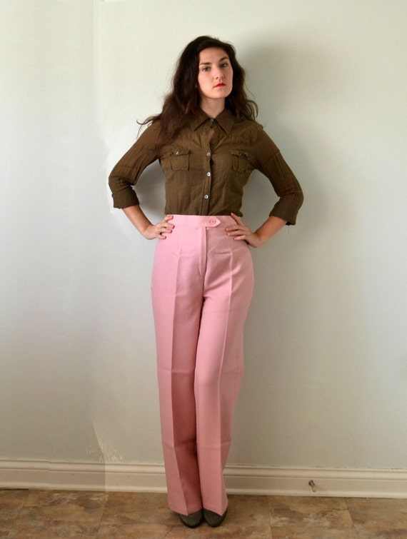 Walk the Walk Trousers | vintage 70's blush pink wide leg trouser pants NOS | XL