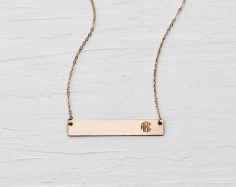 Monogram Bar Necklace - Personalized - Gold, Rose Gold, Sterling Silver - Engraved