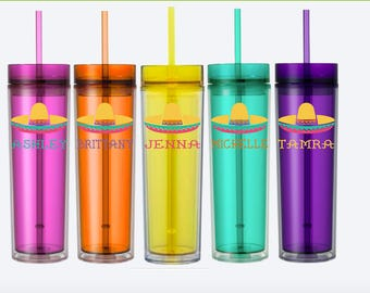 Mexican Fiesta Sombrero Tumblers/Skinny tumbler/Mexican/Bachelorette Party/Vacation/Cruise/Pool/Summer/Beach/Lake/Birthday for her/