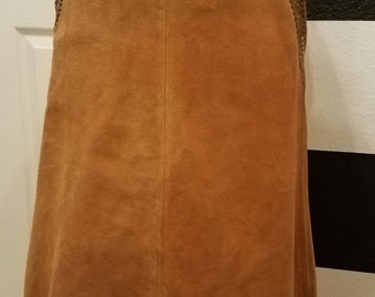 WOW!!! UNIQUE Boho Gypsy - Authentic Vintage CHAR Suede & Leather Hand Painted Whipstitch Skirt! One of a Kind! Excellent Condition