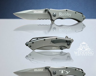 7 Personalized Knifes - 7 Custom engraved Gun Metal Grey Tactical knifes -Titanium coated laser engraved gift - Birthday gift - Wedding gift