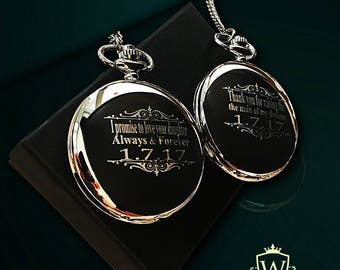 2 Personalized Pocket Watches - Best Man & Groomsmen Gift set - Father of the Bride - Father of the Groom - Engraved Groomsman gift -Wedding