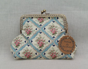 Blue and Cream Floral Make Up Bag/ Large Purse