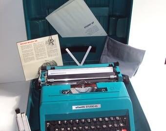 E.SOTTSASS, STUDIO 45, OLIVETTI, 1967, typewriter, turquoise, with its original case, designer, vintage