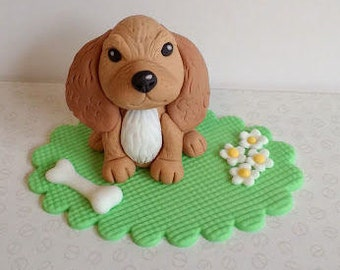 Dog edible handmade cake topper set