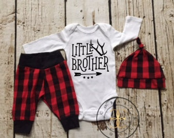 Baby Boy Outfit,Little Brother,baby boy coming home outfit, red plaid,coming home outfit,