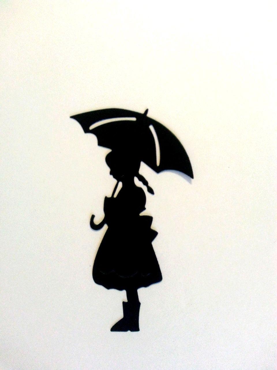 Little Girl Under Umbrella Paper Die Cuts Scrapbook ...