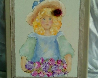 picture child girl vintage acrylic