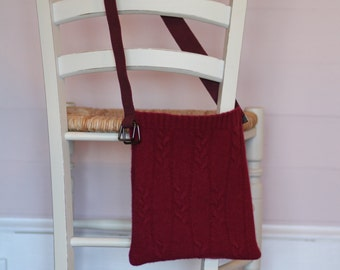Sweater Purse * Cranberry Cable Stitch