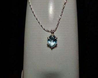 Blue Topaz Gemstone Solid Sterling Silver Necklace