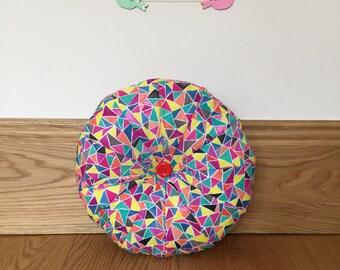 Geometric Rainbow Patchwork Pouffe Cushion