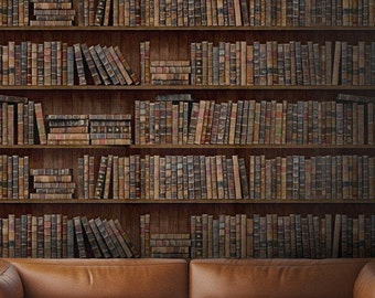"""Vintage """"Book Shelves"""" Bookcase Designer Wallpaper by MIND THE GAP"""