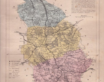 Detailed map of the Department of HAUTE-MARNE. 1880 colors. Beautiful details. France.