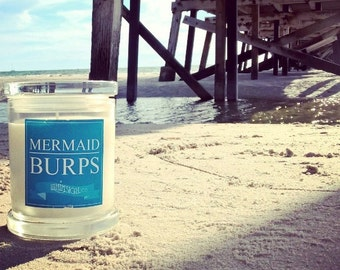 Mermaid Burps Soy Candle Australia Mango Papaya Scented Fragranced Funny Novelty