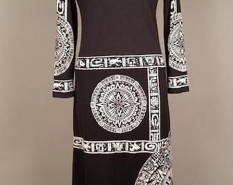 1970s Paganne Poly Knit Dress with Mayan Graphic, Gene Berk Black Maxi Dress, Avant Garde Designer Dress