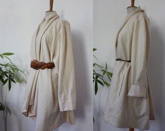 Jacket / long coat MICHEL OPERS / Beige, creamy white / shawl collar / wrap skirt / loose / wool, wool / oversized / Vintage