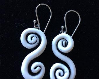 Porcelain  Spiral Dangle Earrings