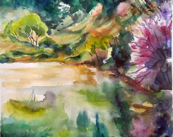 Original watercolor painting, landscape Mountain lake, wall art, wall decor, artwork, nature art