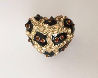 Vintage 90's Large Leopard Heart Rhinestone Statement Ring
