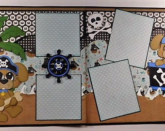 Pirate Puppies Double Page Premade Scrapbook Layout