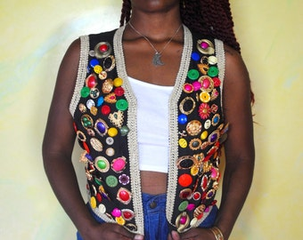 1980s Maximalist Colorful Button Vest