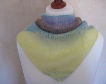 Scarf shawl stole scarf mohair silk gradient purple taupe yellow turquoise multicolor