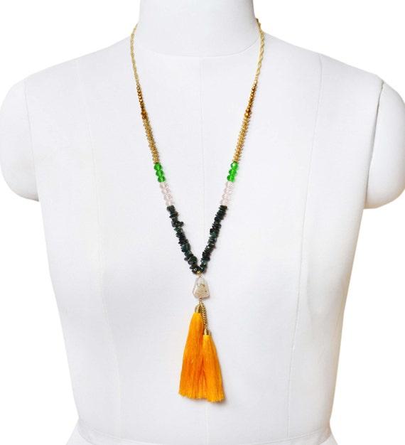 Yellow Tassel raw gemstone multicolor western boho beach Necklace